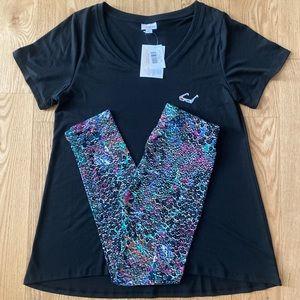 LulaRoe OS Leggings & Large Black Christy T Outfit